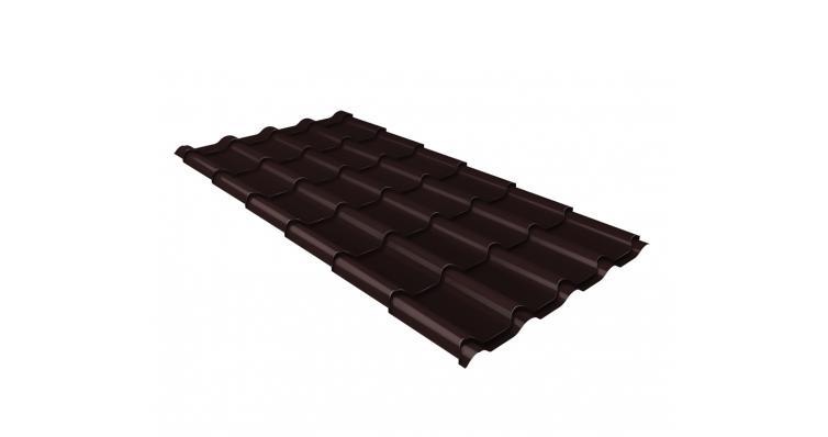 Металлочерепица камея Grand Line 0,5 Velur20 RAL 8017 шоколад