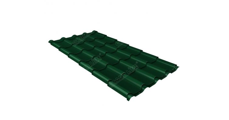 Металлочерепица камея Grand Line 0,5 Atlas RAL 6005 зеленый мох