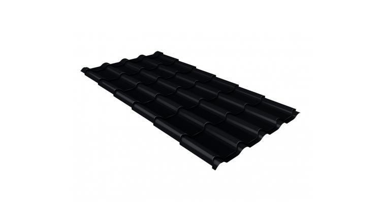 Металлочерепица камея Grand Line 0,5 Velur20 RAL 9005 черный