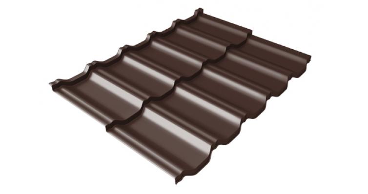 Металлочерепица модульная квинта Uno Grand Line c 3D резом 0,5 GreenСoat Pural RR 887 шоколадно-коричневый (RAL 8017 шоколад)