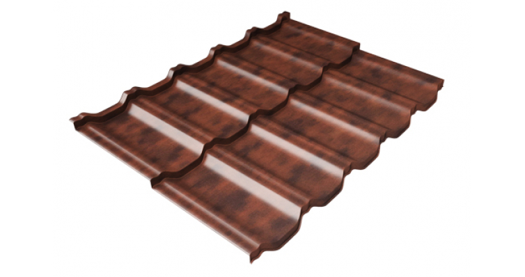 Металлочерепица модульная квинта Uno Grand Line c 3D резом 0,45 Safari Twincolor Brown