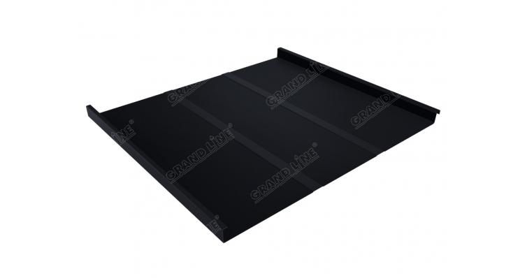 Фальц двойной стоячий Профи Grand Line 0,5 Quarzit lite с пленкой на замках RAL 9005 черный