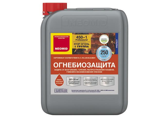 Neomid Огнебиозащита I группа Neomid 450 готовый 5 кг красный