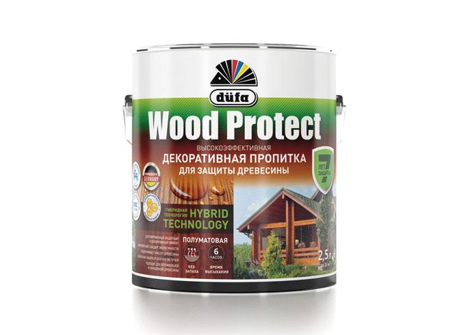 """Dufa Пропитка """"Wood Protect"""" для защиты древесины бесцветный   2,5 л"""