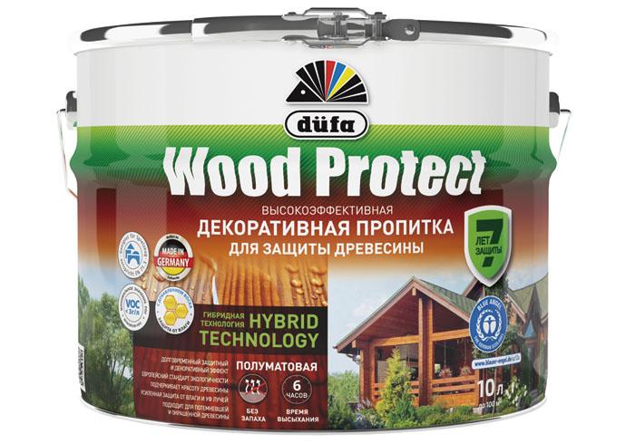 """Dufa Пропитка """"Wood Protect"""" для защиты древесины бесцветный 10 л"""