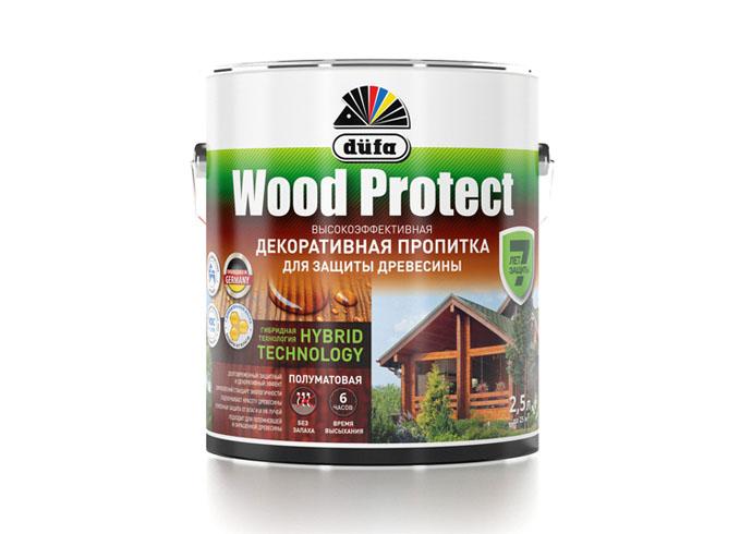 """Dufa Пропитка """"Wood Protect"""" для защиты древесины орех   2,5 л"""