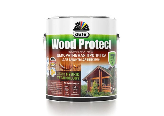 """Dufa Пропитка """"Wood Protect"""" для защиты древесины сосна   2,5 л"""