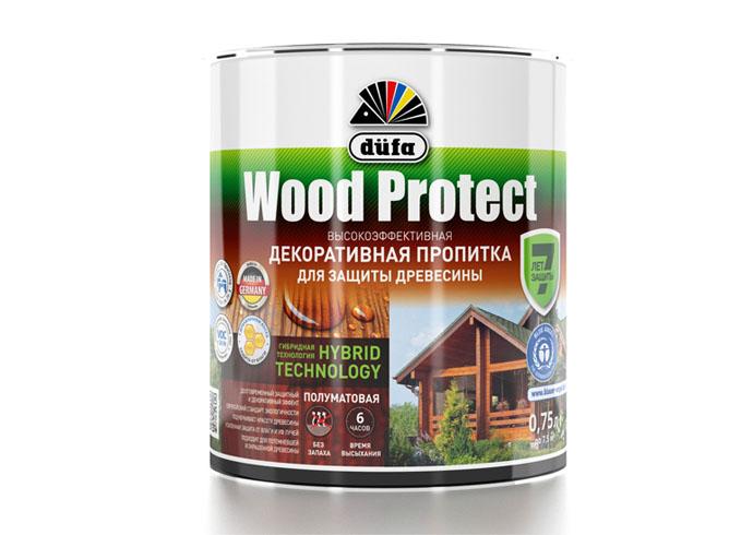 """Dufa Пропитка """"Wood Protect"""" для защиты древесины белый    750 мл"""