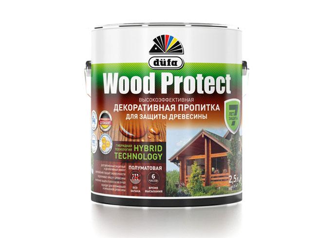 """Dufa Пропитка """"Wood Protect"""" для защиты древесины белый   2,5 л"""