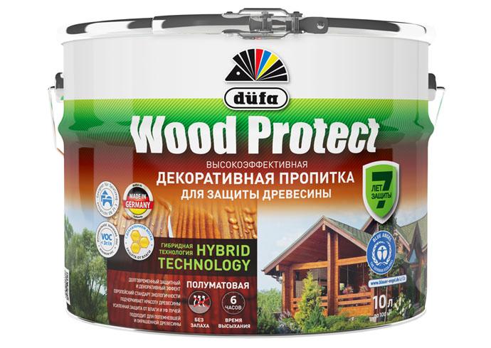 """Dufa Пропитка """"Wood Protect"""" для защиты древесины белый  10 л, шт"""
