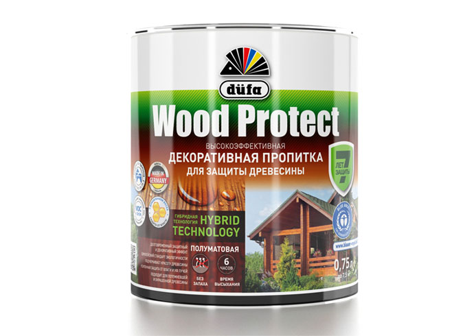 "Dufa Пропитка ""Wood Protect"" для защиты древесины махагон    750 мл"