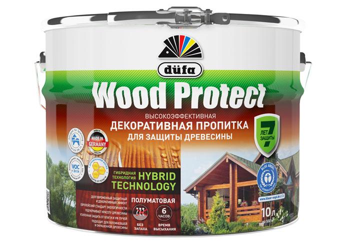 "Dufa Пропитка ""Wood Protect"" для защиты древесины махагон 10 л, шт"