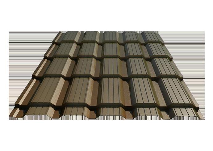 Металлочерепица Каскад полиэстер Ширина 1170 мм 1120 мм 0.45 коричневый