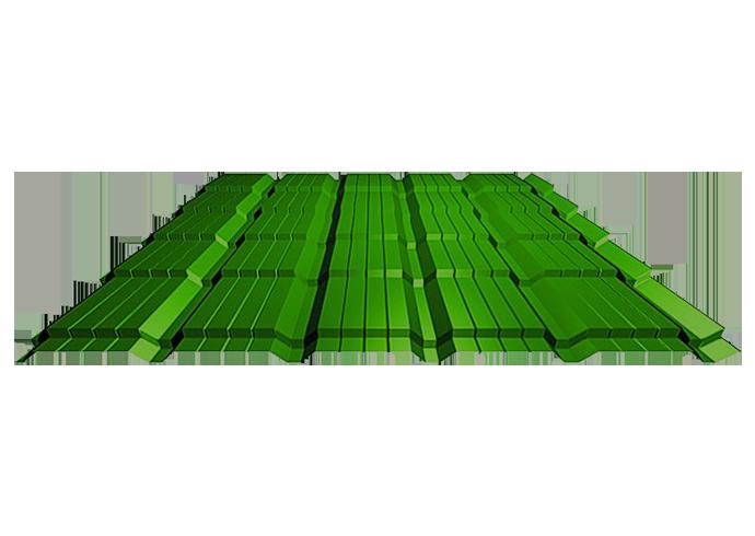 Металлочерепица Каскад полиэстер Ширина 1170 мм 1120 мм 0.4 зеленый