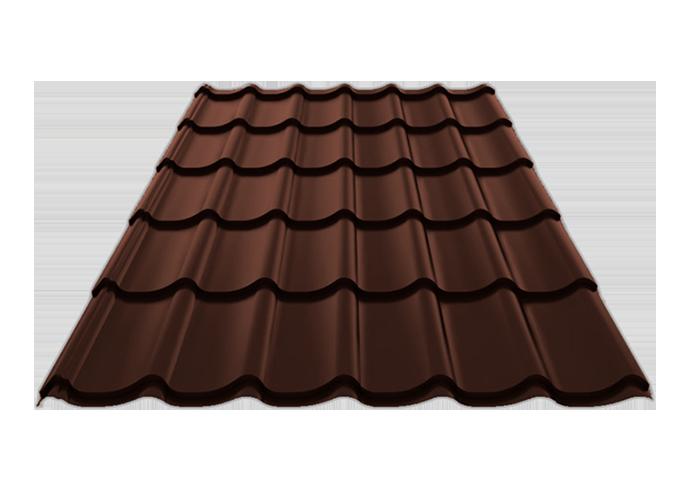 Металлочерепица Монтеррей полиэстер Ширина 1180/1100x0.45 коричневый