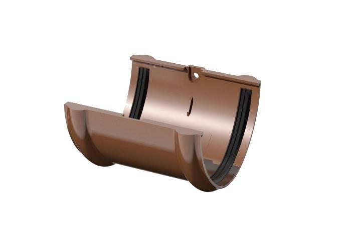 Соединитель жёлоба ПВХ Verat коричневый
